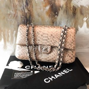 Chanel Metallic Python Medium Double Flap Tan Bag